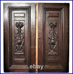 Pair scroll leaf wood carving panel door Antique french architectural salvage