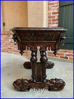Petite Antique French Carved Oak Dolphin Table Desk Renaissance Gothic 19th c