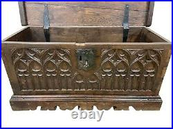Primitive Antique French Gothic Trunk, Medieval, 19th Century, Oak