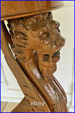 Rare ANTIQUE Carved Oak WINGED LION LIONS GRIFFIN Victorian Gothic Parlor TABLE