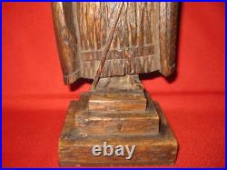 Rare Antique 18Th-19Th Century Wood Oak Carving Medieval Knight Figurine