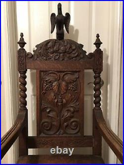 Rare Antique Dated 1897 Carved Oak Wood Eagle Motif Large Church Chair