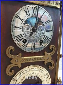 Rare Antique French Gothic Oak & Bronze Moonphase Calendar Lantern Bracket Clock