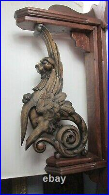 Rare Antique Matching Pair Large Gothic Ornate Carved Oak Griffins 24 Tall