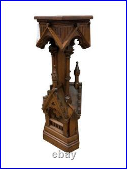 Rare French Gothic Pedestal, Large Castle / Church with Turret Carvings, Oak