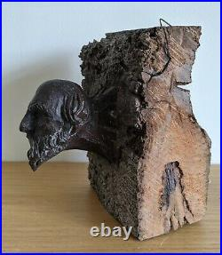 Rare Medieval 15th Century English Oak Beam End Carved Head c1450