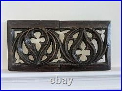 Rare Medieval English 15th Century Carved Oak Gothic Pierced Aumbry Panel c1480