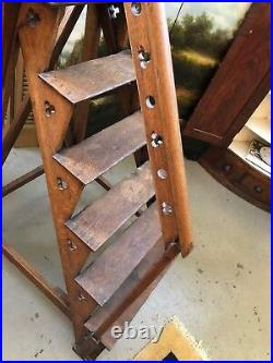 Rare Mid 19th Century Neo Gothic English Oak Library Steps Athenaeum Archive
