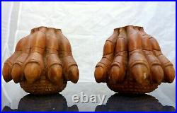 Rare PAIR Hand Carved Wood Chimera Griffin Monster Gothic Salvage Foot 19TH