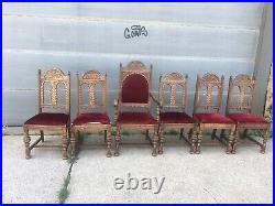 Rare Set Of 6 Feudal Oak Dining Room Chairs 1930s. Shipping Ok