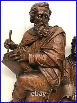 SALE! Exceptional Gothic Saint John the evangelist + Angel altar retable in oak