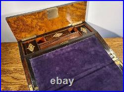 STUNNING MID-VICTORIAN POLLARD OAK LAP DESK & GOTHIC STYLE BRASS MOUNTS c. 1860
