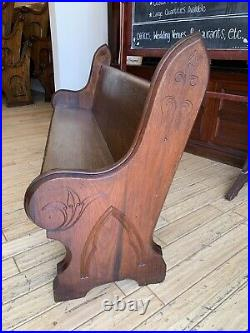 SUPER Antique 1860 Civil War Era Gothic Chestnut Walnut Church Pew 72 New York