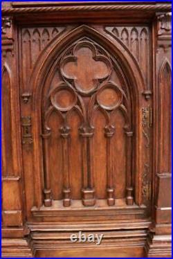 Sensational Antique French Gothic Cabinet, Castle Design, Oak, 19th Century, #11572