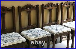Set Of 8 Original Antique English Dark Oak Chapel Chairs Dating From Around 1874