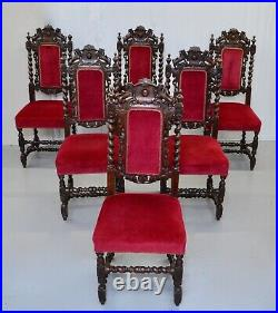 Set Of Six Hand Carved Lion Detailed Gothic Jacobean Dining Chairs