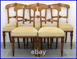 Set Of Six Victorian Oak Gothic Dining Chairs Horse Hair Seat & Tapered Legs