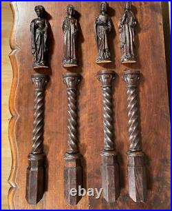 Set of 4 Nicely Carved Antique Gothic Revival Statues & Pedestals in Oak