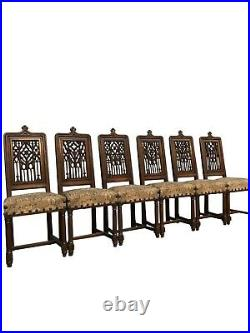 Set of Eight (8) Antique French Gothic Dining Chairs, 19th Century, Oak
