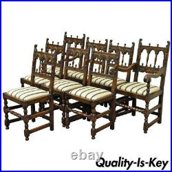 Set of Eight Carved Oak Wood 1930s Jacobean Gothic Style Dining Room Chairs
