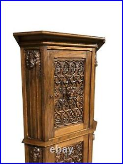 Showy French Gothic Corner Cabinet, Medieval, 1920s, Oak