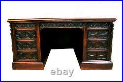 Showy French Gothic Desk & Arm Chair, 19th Century, Oak