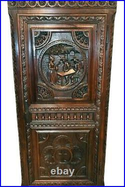 Single Door French Breton Cabinet, Narrow Model, Oak, 1900's, Gothic Influence
