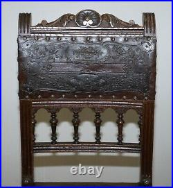 Six Henry II Circa 1880 French Oak & Embossed Crocodile Leather Dining Chairs