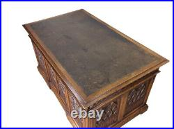 Stately Antique French Gothic Desk, Leather Top, Oak, 19th Century