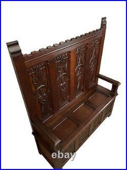 Striking Antique French Gothic Bench, 1920's, Oak