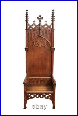 Stunning Antique French Gothic Throne Chair, Tall, Oak, 19th Century