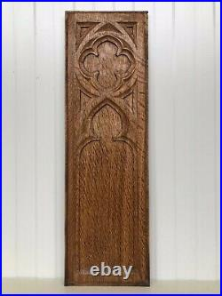 Stunning Gothic Church panel in wood -carved panel in oak (1)