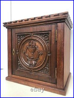Stunning Gothic Revival Church/Monastery Tabernacle Cabinet in oak with chalice