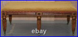 Stunning Large Regency Style Library Club Pollard Oak Bench Stool 123cm X 71cm