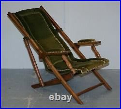 Stunning Pair Of Victorian Military Campaign Folding Chairs Steamer Liner Pieces