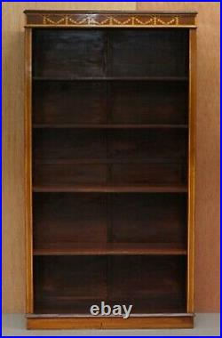 Stunning Pair Of Victorian Sheraton Revival Inlaid Walnut, Oak Library Bookcases