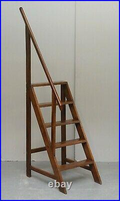 Sublime 180cm Tall Victorian English Oak Antique Library Steps Exquisite Quality