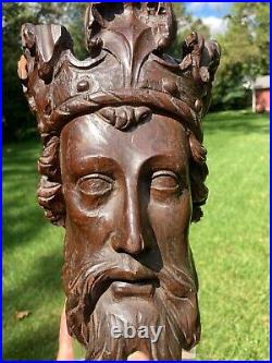 Superb early antique carved oak head of a king medieval gothic corbel