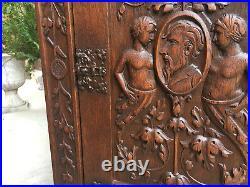 Tall Antique English Carved Oak Renaissance Gothic Cabinet Bookcase Pedestal