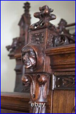 The Best Antique Carved Oak Gothic Monumental Cabinet