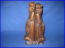 Two Early Antique 19th Century Gothic Wood Oak Caryatid Carved Medieval Knight