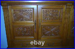 VERY LARGE 94 Wide 55 Tall CARVED GOTHIC ANTIQUE FRENCH OAK SIDEBOARD BUFFET