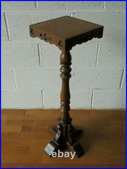VINTAGE GOTHIC CARVED OLD CHARM OAK PLANT STAND TORCHERE. Postage just £11.99