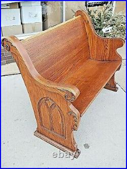 Victorian Antique Gothic Sleigh Style Oak Catholic Church pew Bench seat