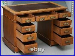 Victorian Circa 1880 English Oak Twin Pedestal Partner Desk Oxblood Leather Top