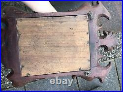 Victorian Gothic carved oak framed wall hanging decorative mirror Small