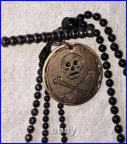 Victorian Mourning Chain Steel Chain& Bog Oak Tassels &tear Fob, Skull Fob Goth