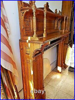 Victorian antique Oak Fireplace Mantle + spoon carved + Gothic + Eastlake +