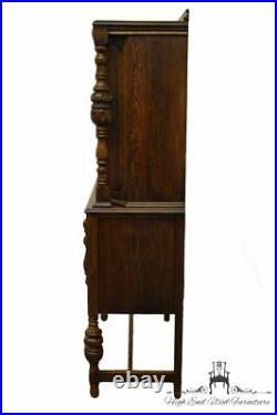 Vintage Antique Oak English Revival Gothic Jacobean 36 Storage Cupboard