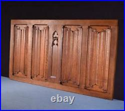 Vintage French Gothic Door/Panel in Solid Oak Wood withLinen Fold Carvings